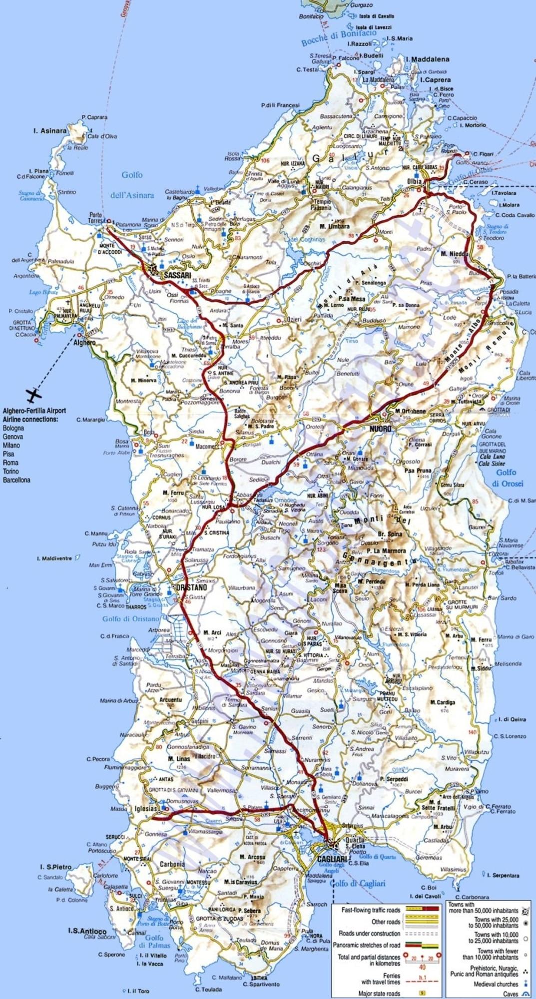 Cartina Sardegna Tharros.Mappa Della Sardegna Cartina Interattiva E Download Mappe In Pdf Sardegna Info